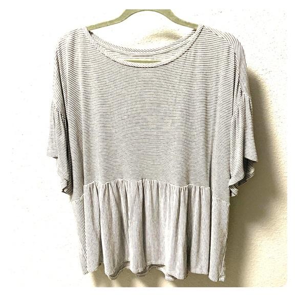 LOFT Tops - LOFT Peplum Striped T-Shirt
